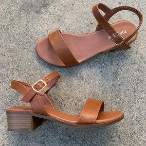 "Top Moda Tan 2"" Low Heel Ankle Strap Sandal"